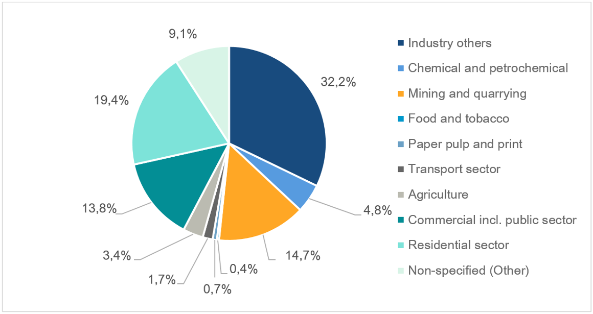 Share of selected sectors on the total final electricity consumption in S.A.